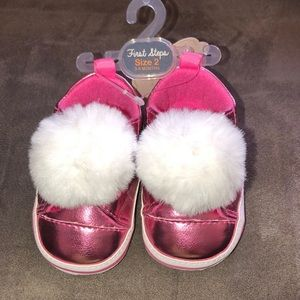👶🏽Baby Girl First Steps Pink Puff Sneakers!👶🏽